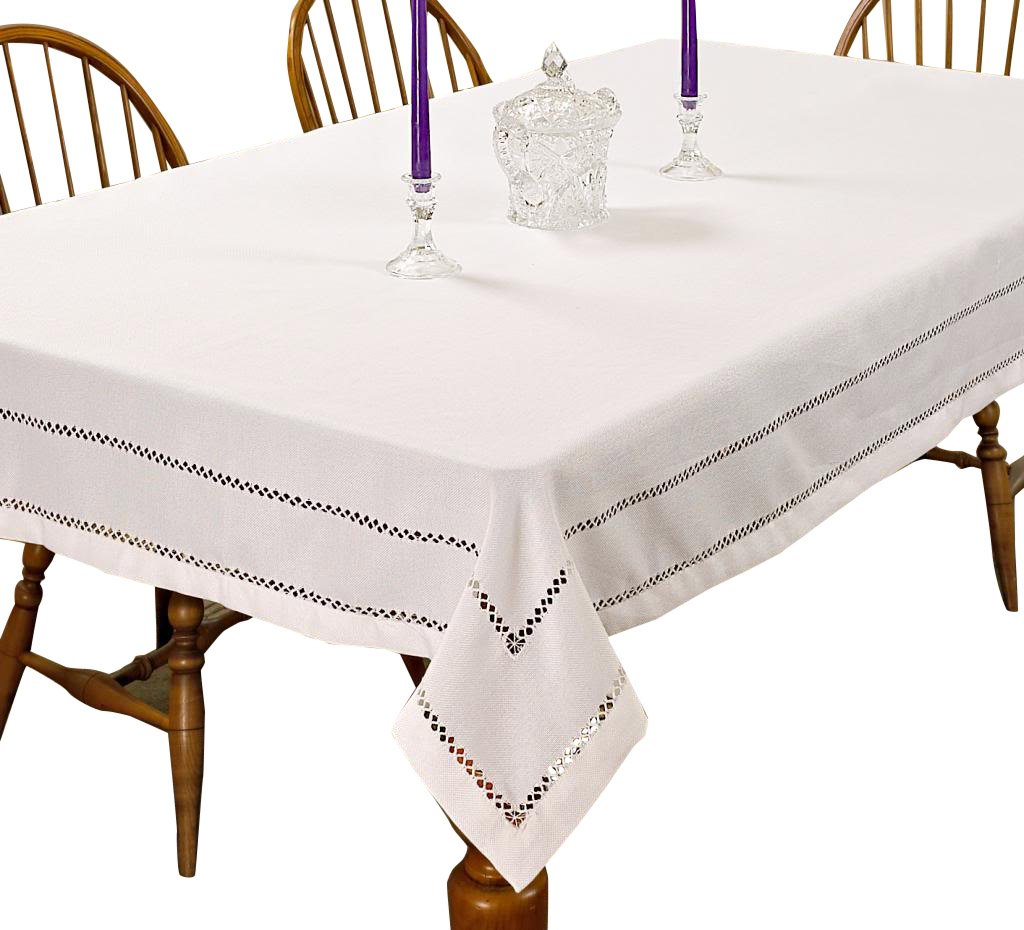 White 54  X 72  purple Linen Hem Stitch Embroidered Vintage Design Oblong Rectangle Tablecloth, 68  X 120 , White