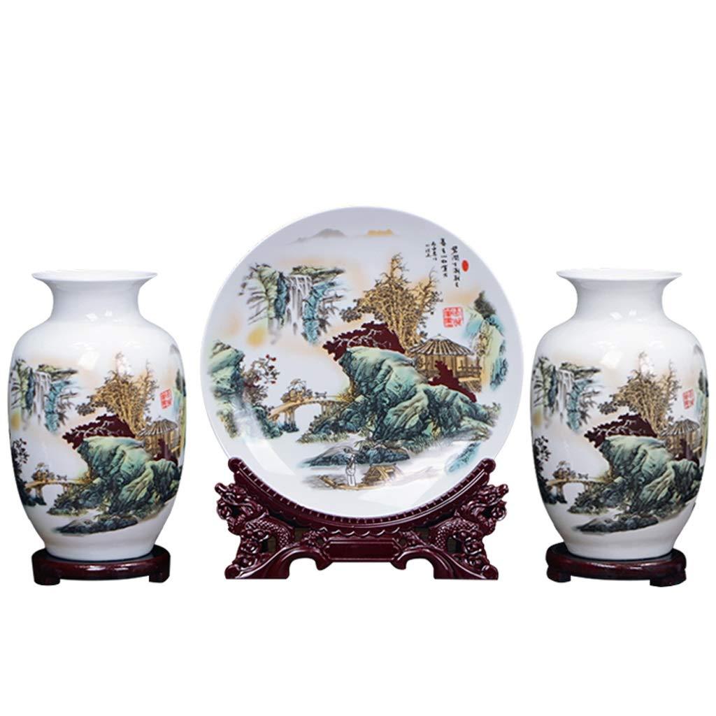 スリーピースセラミック花瓶装飾新しい中国の家の装飾リビングルームフラワーアレンジメントフラワークラフト HUXIUPING B07T53586W