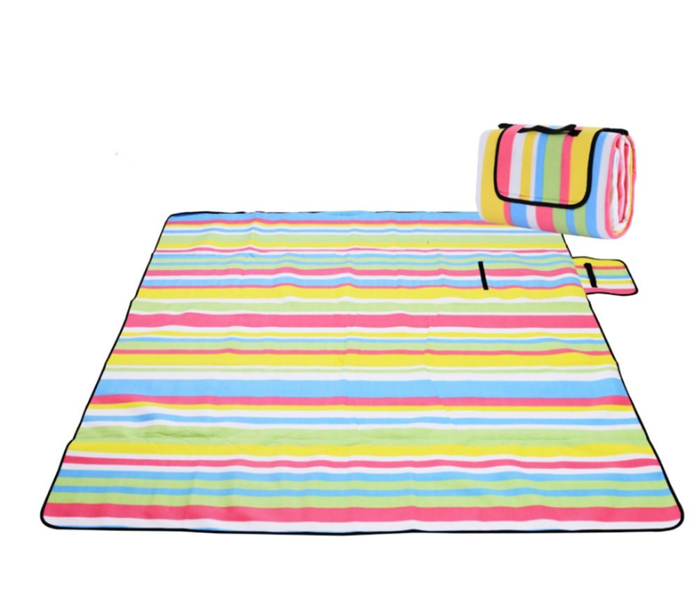 DoKu 200x 200cm Picnic Rug Fleece Waterproof Backing Household Camping Trip Picnic Blanket Insulated with Handle