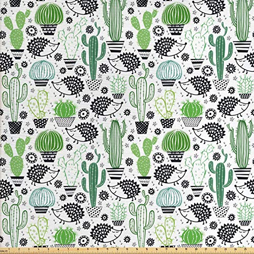 ric by The Yard, Cartoon Style Inspired Drawing of Cute Hedgehog Animals Saguaro and Prickly Pear, Decorative Fabric for Upholstery and Home Accents, 1 Yard, Multicolor ()