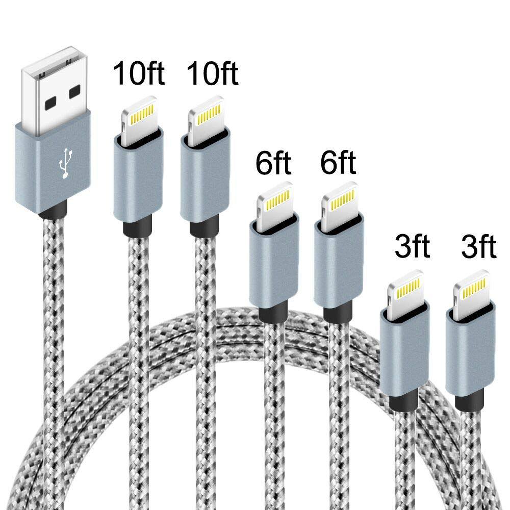 6Pack (3ft,3ft,6ft,6ft,10ft,10ft) Nylon Braided Charging Cord Charger Compatible with PhoneX/8/8Plus 7/7 Plus/6s/6s Plus/6/6 Plus/5s/55se,Pad,Pod-Greywhite