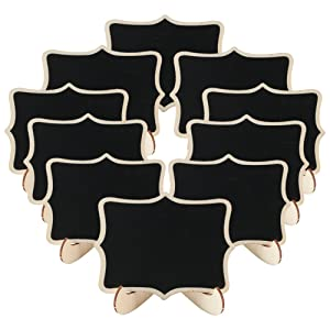 ManYee 10 Pack Mini Chalkboard Signs with Easel Stand Wood Small Rectangle Chalkboard Blackboard for Message Board Signs Table Numbers Food Label Weddings Party Decoration
