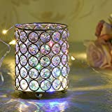 VINCIGANT Silver Round Crystal Tealight Candle / Pen Holders for Thanksgiving Home Decorations 4.7 Inches Tall