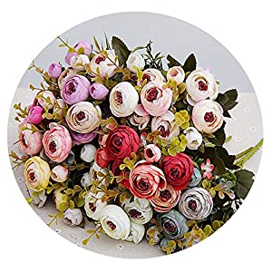 Rose Bride Bouquet for Christmas Home Wedding New Year Decoration Fake Plants Artificial Flowers 58
