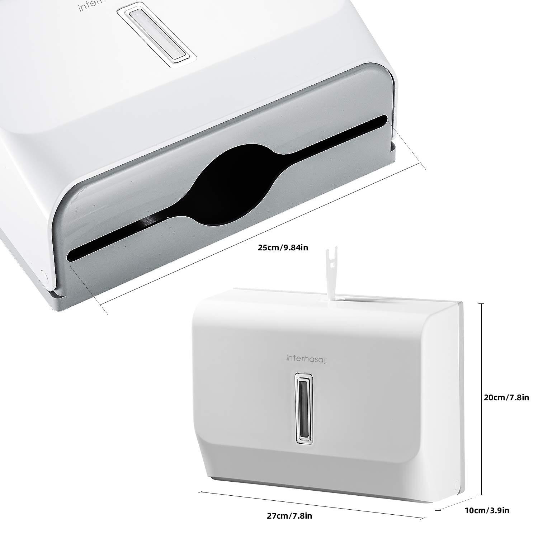 Commercial Paper Towel Dispenser Wall Mounted C-fold Hand Towel Dispenser Kitchen Bathroom Restaurants interhasa white