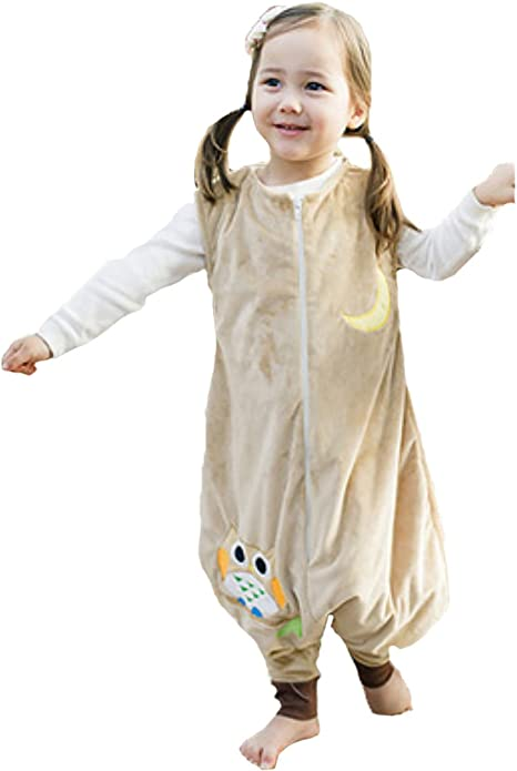 Happy Cherry - Saco de Dormir Infantil Mono del Algodón Franela Cremallera Pijama de Bebé Cartoon para Niños Niñas - Amarillo - S(1-2 años): Amazon.es: Bebé