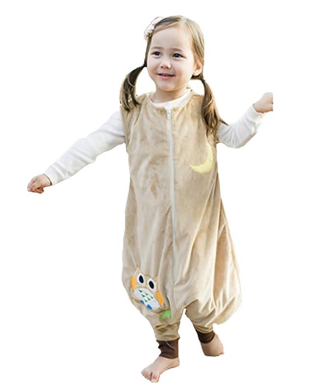Happy Cherry - Infantil Saco de Dormir Mono del Algodón Franela Cremallera Pijama de Bebé Cartoon para Niños Niñas - Amarillo - S(1-3 años): Amazon.es: Bebé