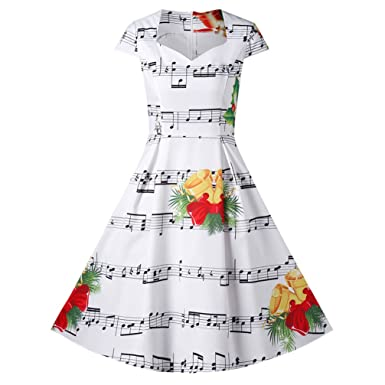 CARMELAA 2017 Autumn Christmas Sweetheart Neck Music Note Print Dress Women Summer Vintage Audrey Hepburn Robe