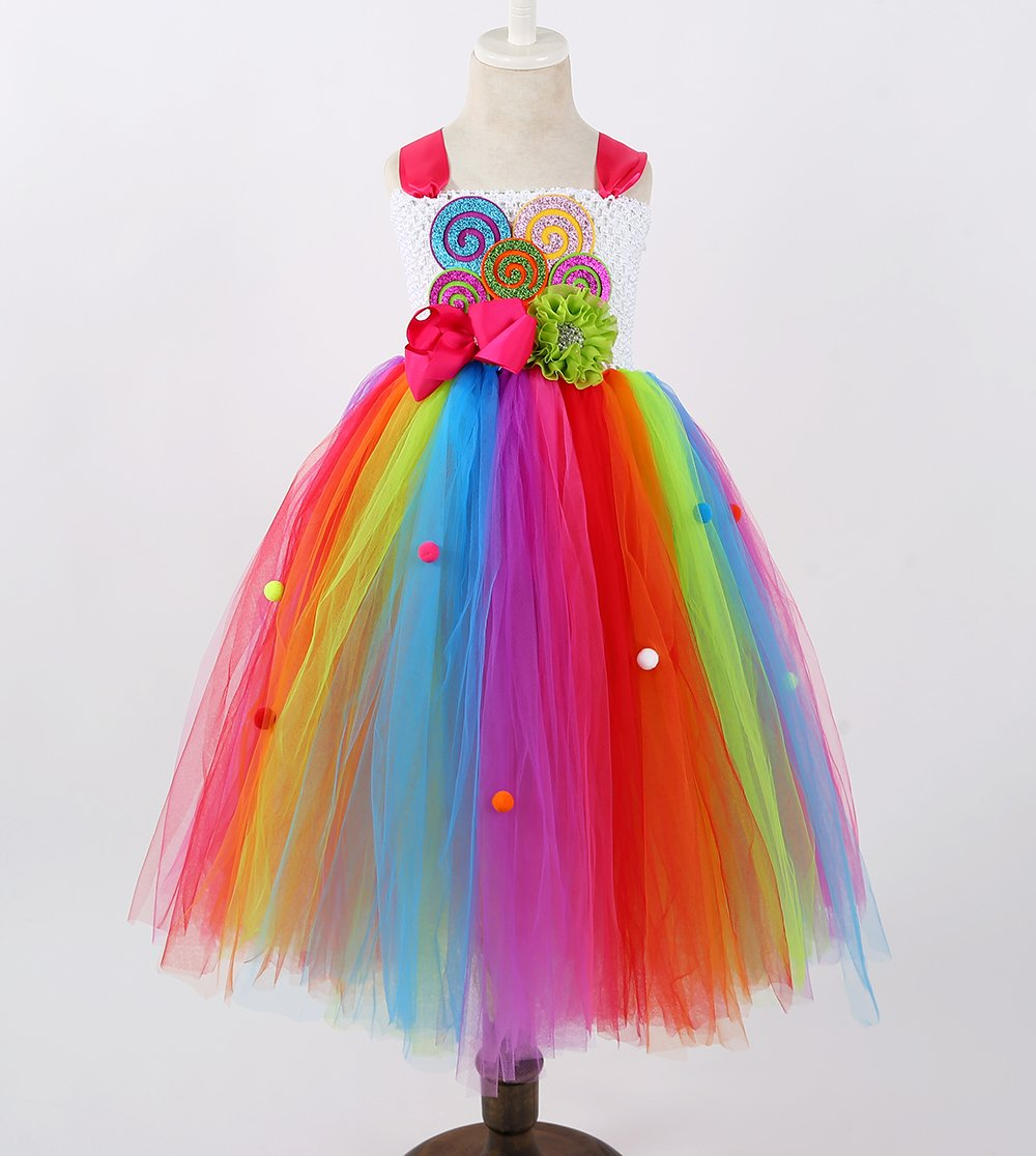 Tutu Dreams Rainbow Lollipop Candy Tutu Dress Kids Girls Birthday Party Ringmaster Circus Clown Costumes Halloween (Rainbow, 8) by Tutu Dreams (Image #2)
