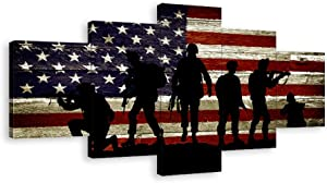 5 Panels American Flag Canvas Wall Art USA US Military Soldiers Army Pictures Posters Prints Thin Blue Red Line Painting Artwork for Living Room Bedroom Decor Framed Ready to Hang
