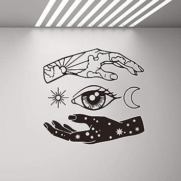 Mano Luna Ojo del Sol Estrella Tatuajes de Pared Arte de Vinilo ...