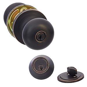 AmazonBasics Entry Door Knob and Deadbolt - Round - Oil Rubbed Bronze