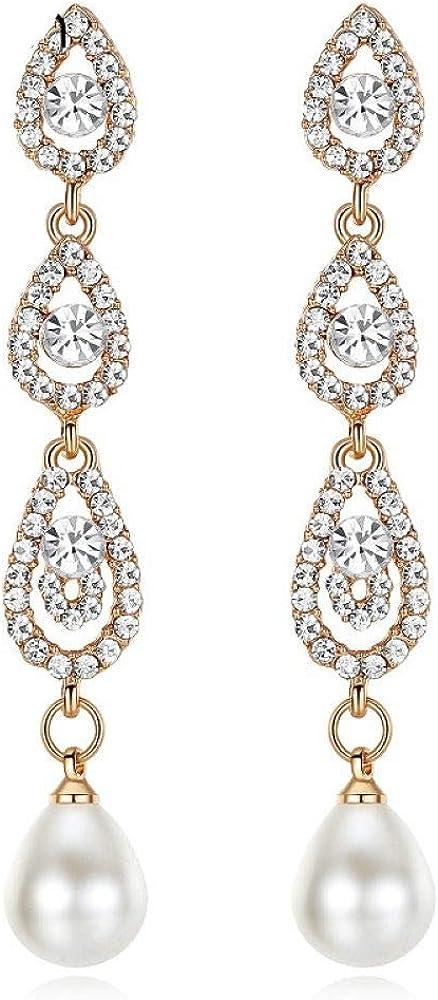 EHUNDZ Pendientes largos de perlas simuladas con lágrimas para niñas Pendientes de novia de cristal de color plateado lindo Joyas de boda