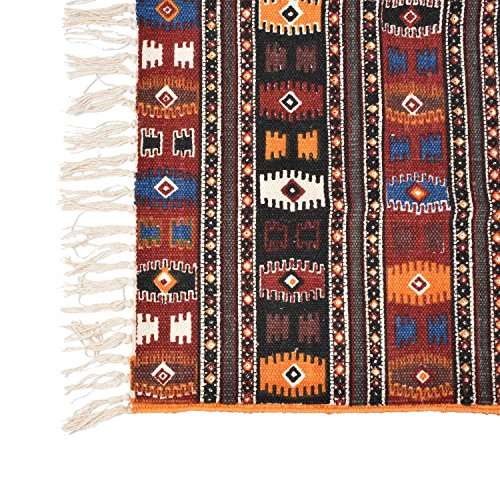 Homescapes 100 Cotton Kilim Printed Rug Terracotta Black