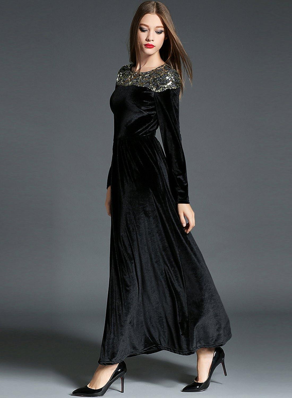 Azbro Women's Sequin Trim Long Sleeve Velvet Prom Dress