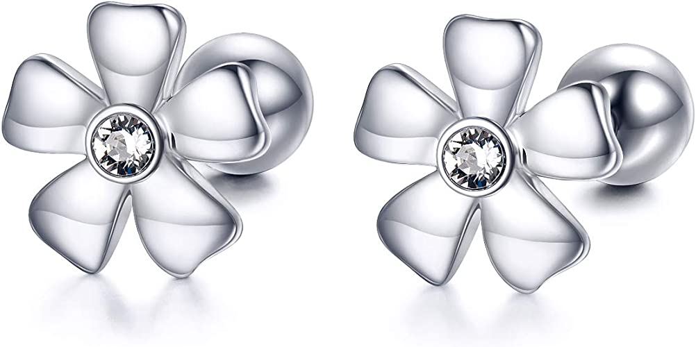 18K Solid White Gold 5mm Stunning Flower CZ with Screw Back Stud Earrings