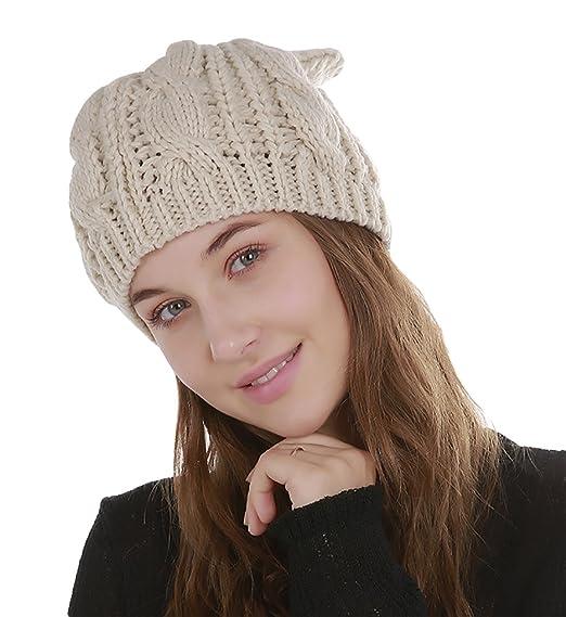 factory nouvelle arrivee vraiment pas cher Bonnet Femme Tricoté Avec Oreille de Chat Chapeau Jacquard ...