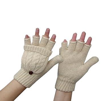 6e1285367f108 Butterme Women's Girl's Fingerless Gloves with Fold Back Pocket Hand Warmer  Half Finger Flip Wool Knitted