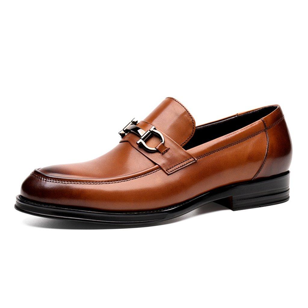 Zapatos Clásicos de Piel para Hombre Zapatos de cuero de los hombres de la primavera Zapatos casuales de negocios Cabeza redonda Zapatos de la boda del desgaste formal de estilo británico Zapatos de marea hechos a mano ( Color : Yellow-brown