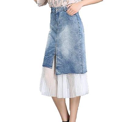 Mujer S Summer Cowboy Cintura Media Una línea única Falda más Denim Vestido Corto Blanco Encaje Floral de Moda Precioso Largo Skinny Jeansock Slim Fit Denim Falda: Ropa y accesorios