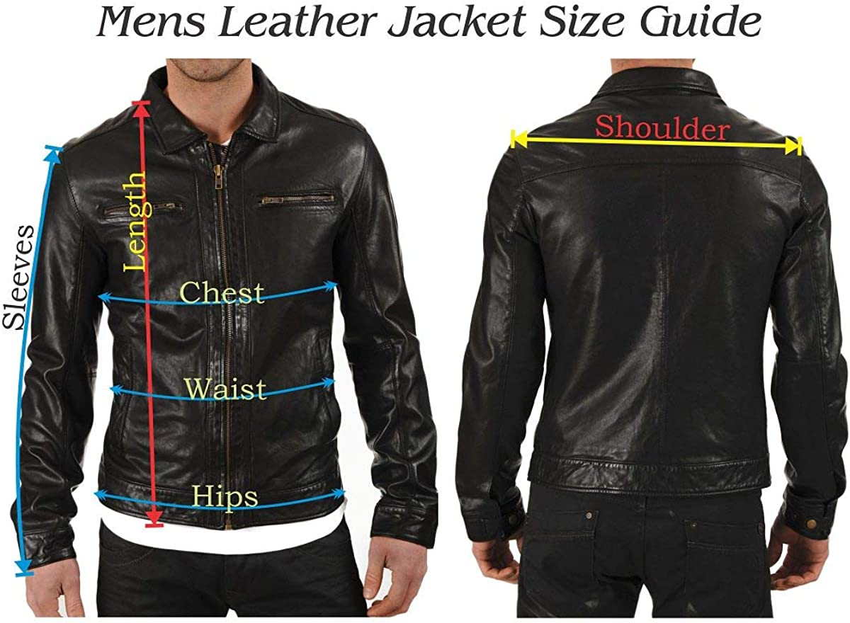Mens Stylish Motorcycle Biker Genuine Lambskin Leather Jacket 335
