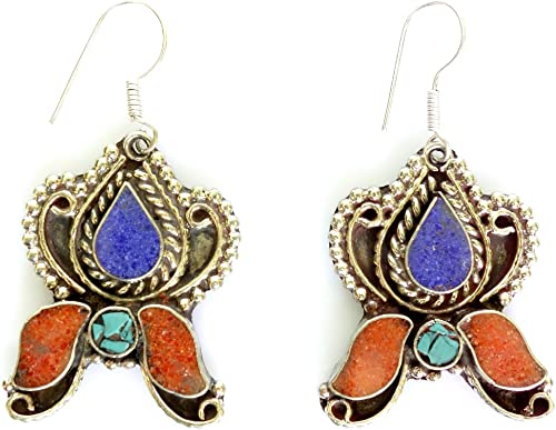 Ethnic Native American earring oxidized metal coral and turquoise