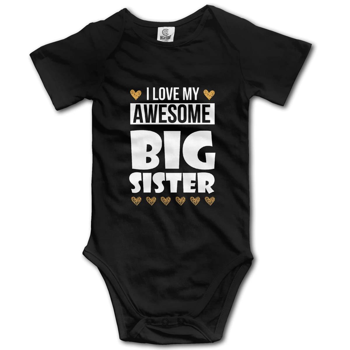 I Love My Big Sister Toddler Baby Romper Summer Short Sleeve Onesie Funny Gift