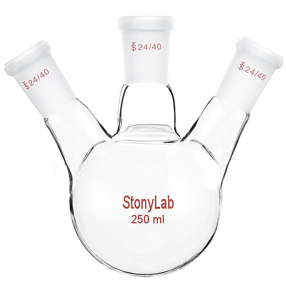 StonyLab Glass 250ml Heavy Wall 3 Neck Round Bottom Flask RBF, with 24/40 Center and Side Standard Taper Outer Joint – 250ml