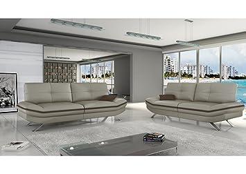 MyMeubleDeco - Salon 3+2 canapés Miami Cuir PU taupe marron ...