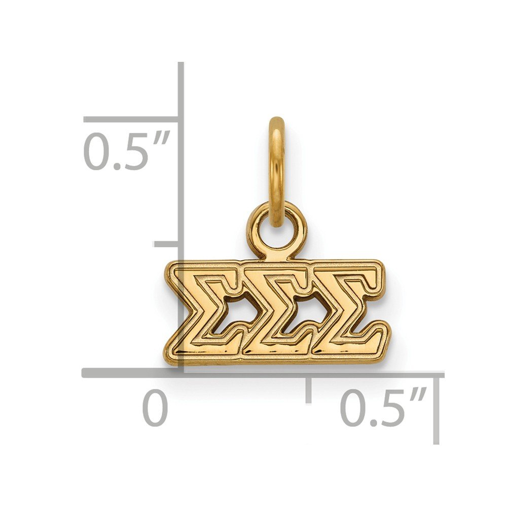 Jewel Tie 925 Sterling Silver with Gold-Toned Sigma Sigma Sigma Extra Small Pendant