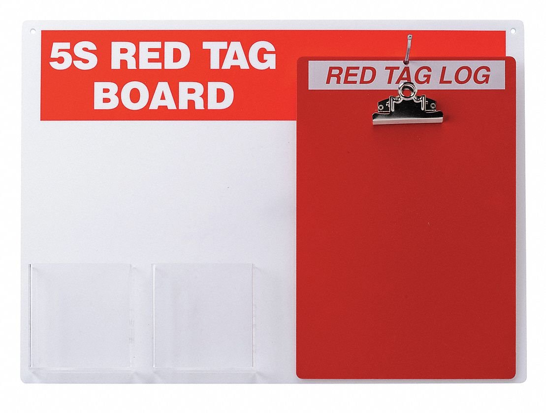 Brady  122049, Red on White 5S Red Tag Board with Clipboard (1 Kit)