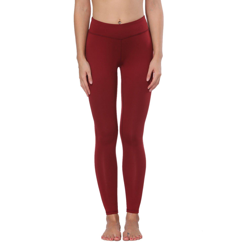Basicbrick Red FEIVO Yoga Pants, Womens Power Flex Yoga Pants Tummy Control Workout Yoga Capris