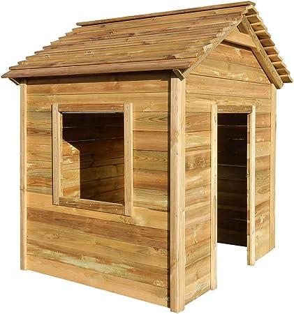 Tidyard Casa de Juegos de jardín de Madera de Pino FSC Duradero y de fácil Mantenimiento 123x120x146 cm: Amazon.es: Hogar