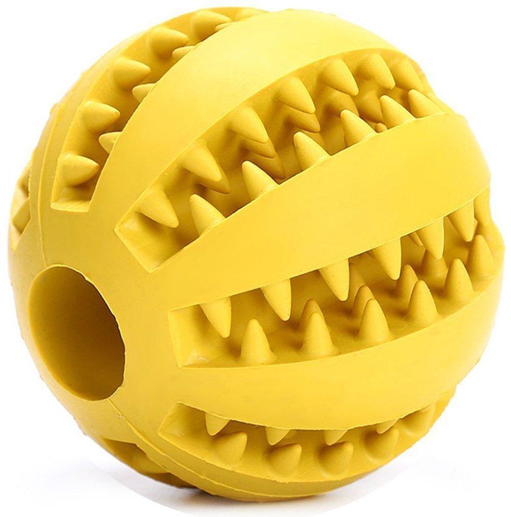 Gulake Dog Chew Toy, palla di gomma bite resistente Treat Dispensing dente pulizia cucciolo giocattolo per piccolo medio grande cane (giallo)