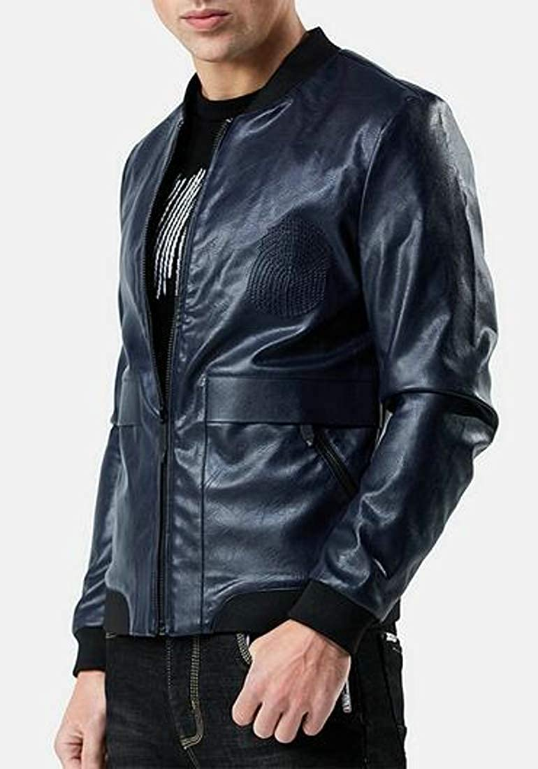 GloryA Mens Casual Motorcycle Juniors Baseball Stand Collar Faux Leather Coat Jackets