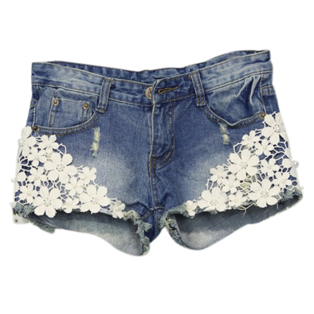ClothingLoves Women's Floral Lace Patchwork Denim Low Waist Shorts Small