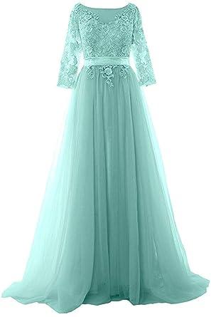 c03c7fbd130 Henglizh Women Half Sleeve Long Prom Dress Boat Neck Lace Formal Evening  Gown Aqua