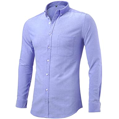 Mens Oxford Dress Shirts Casual Slim Fit Button Down Long Sleeve ...