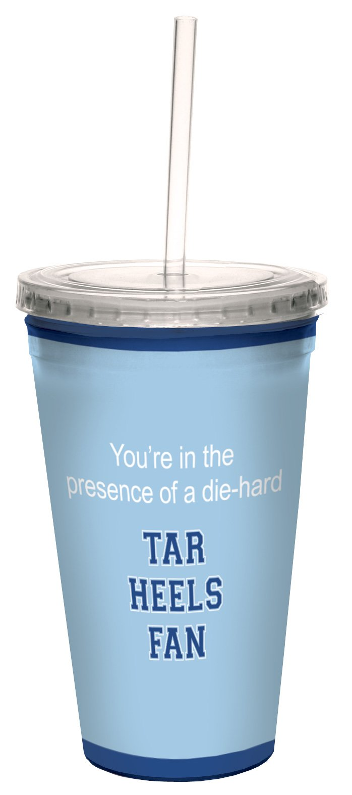 Tree-Free Greetings cc34818 Tar Heels College Basketball Artful Traveler Double-Walled Cool Cup with Reusable Straw, 16-Ounce