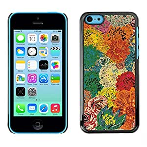 LASTONE PHONE CASE / Carcasa Funda Prima Delgada SLIM Casa Carcasa Funda Case Bandera Cover Armor Shell para Apple Iphone 5C / Cool Floral Vintage Colors