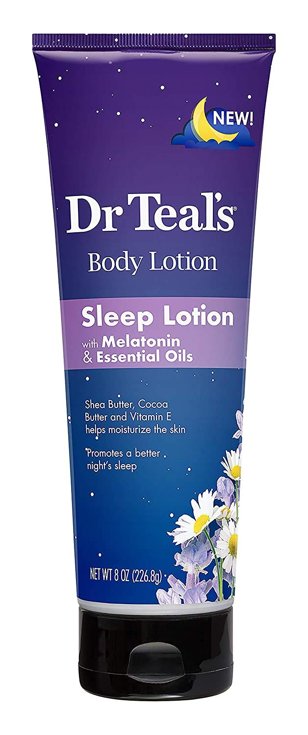 Dr. Teal's Night Time Therapy Melatonin Body Lotion 8 Ounces Pure Epsom Salt Lotion for Skin Care Sleeping and Muscle Relief