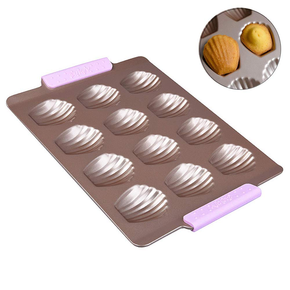12-Cavity Madeleine Pan Baking Shell Mould Nonstick Metal French Cake Pans With Silicone Handle by LUFEIYA