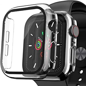 [2 Pack] Compatible for Apple Watch Series 3/2/1 Case 42mm Accessories with Tempered Glass Screen Protector, EWUONU Clear Thin Bumper Full Coverage Protective Watch Cover [Crystal Transparent]