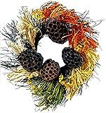 "Autumn Corn Husk with Beehive Decorative Fall Wreath - 20"""