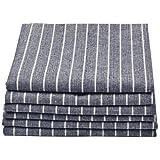 Sinland Linen Napkins Oversized Dinner Napkins With Stripe 20Inch X 20Inch Grey Blue 6 Pack