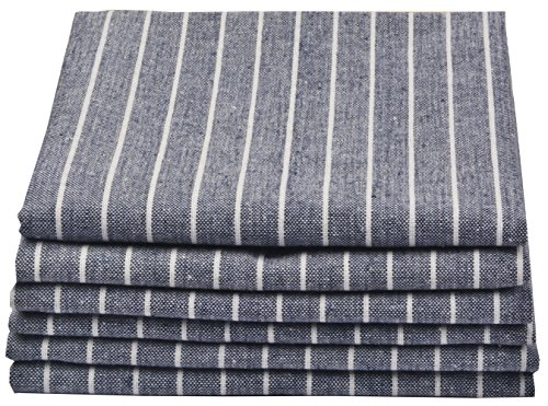 (SINLAND Linen Napkins Oversized Dinner Napkins Tailored with Mitered Corners and a Generous Hem 20Inch x 20Inch 6 Packs (Grey Blue))