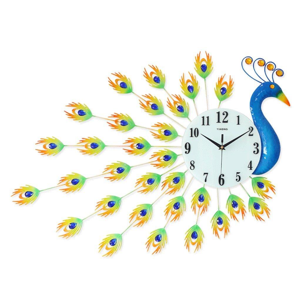 ウォールクロック ピーコックシンプルクリエイティブヨーロピアンスタイルの腕時計リビングルームウォールクロックモダンな装飾時計ベッドルーム静かなクォーツ時計 B07D7RXCM5