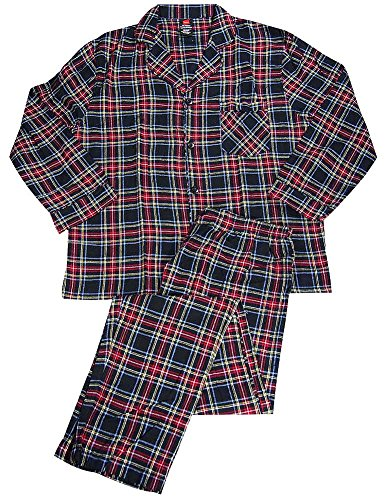 ng Sleeve Flannel Pajamas, Black, Red 37538-XX-LargeTall ()