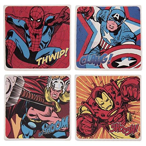 Vandor 26285 Marvel Comics 4 Piece Ceramic Coaster Set, Multicolored ()