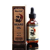 BlueZOO 100% Naturale Barba Oil per uomo, lasciare in Conditioner e ammorbidente per governare, acconciare e modellare (Sandalo, 60ml)